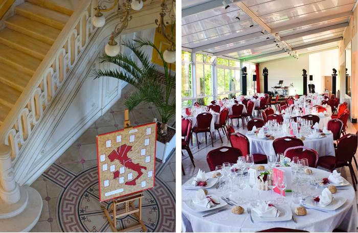 La salle de repas de mariage au chateau de la Freslonniere.