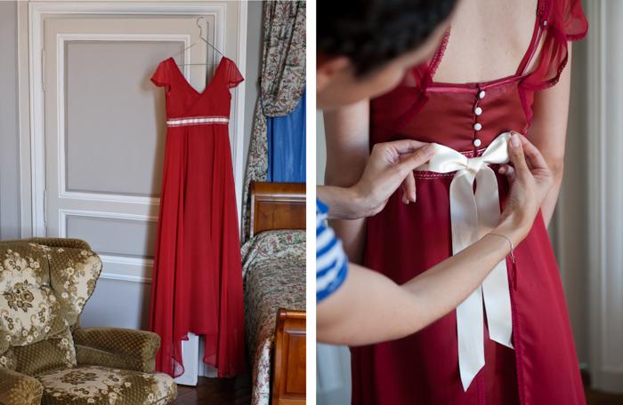 habillage dans l'une des chambre du chateau avant le depart des mariés pour la cérémonie civile.