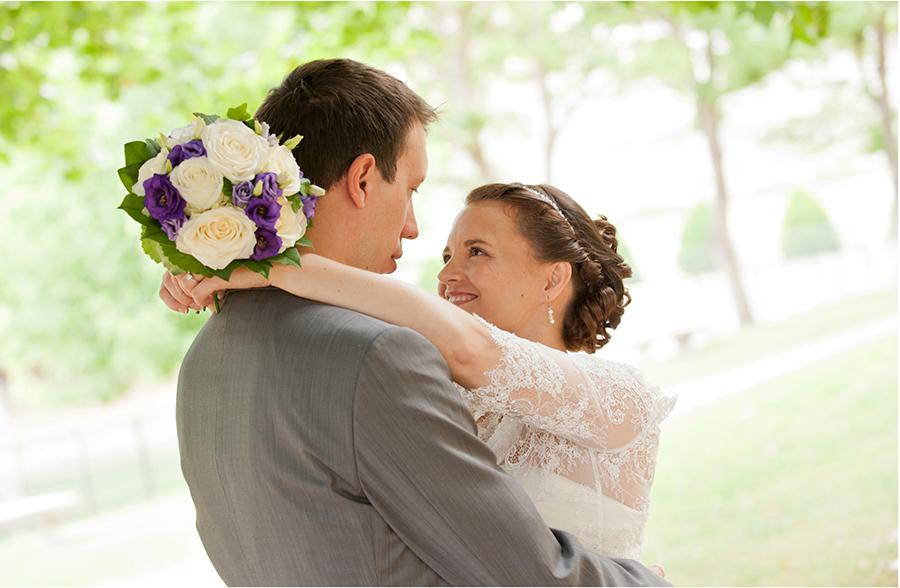 photo de mariage dans un parc