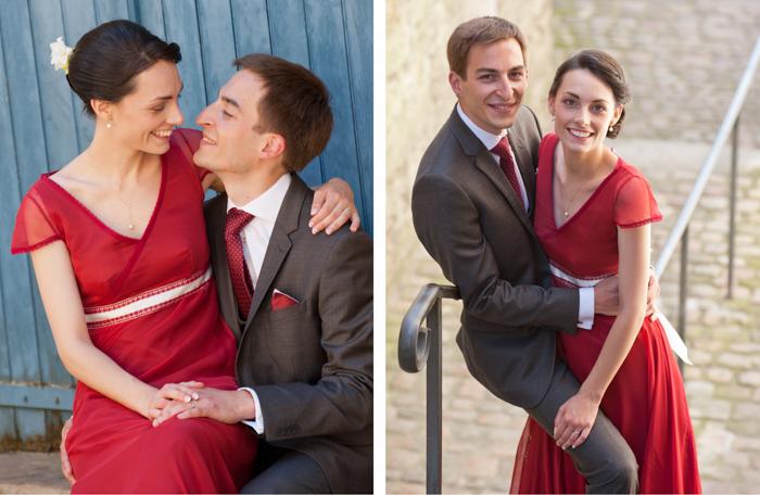 Portraits de jeune mariés dans les rues du vieux Mans