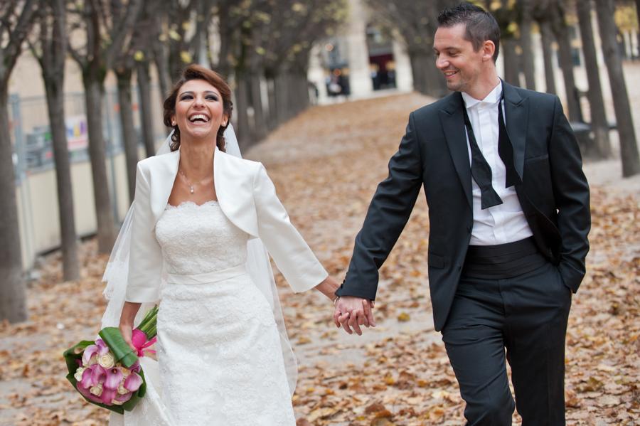 photo de mariage en automne
